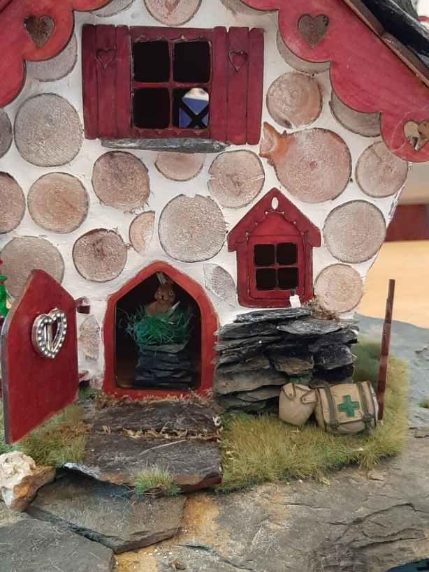 finished fairy house rabbit
