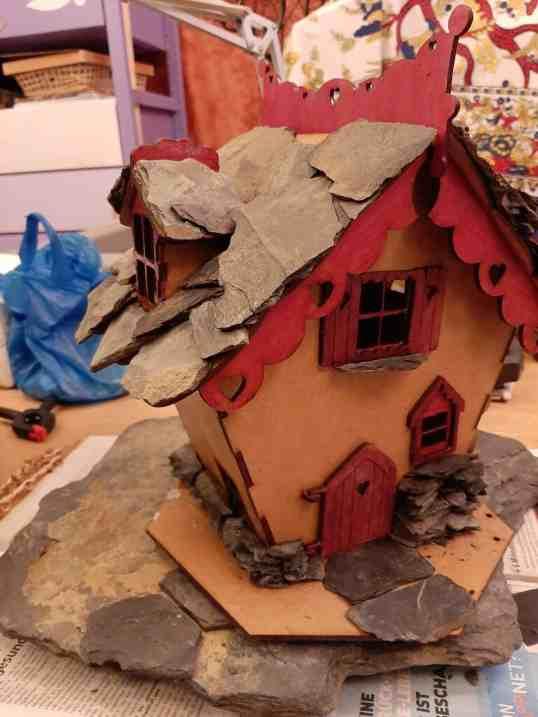 Fairy house adding rocks 3