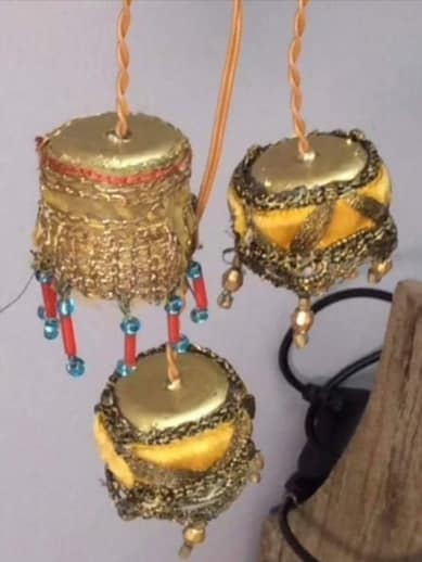 miniature lamps with tea light holder and braid and beads