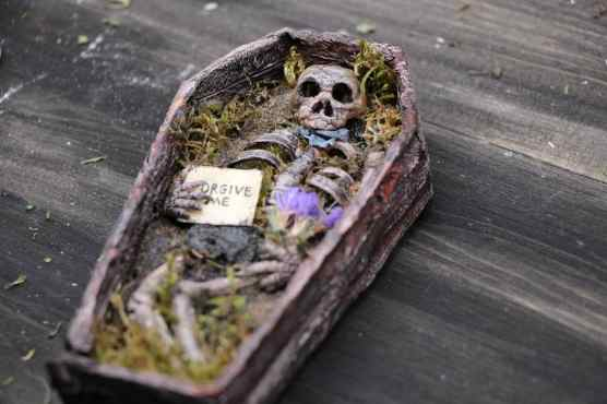 miniature coffin forgive me
